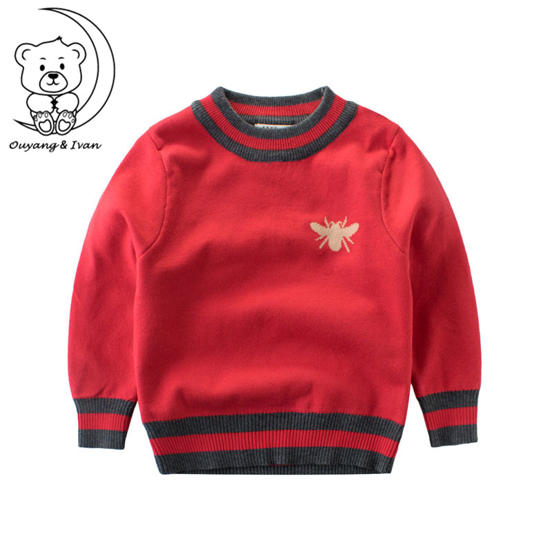 Ouyang Ivan Bee Pattern Casual Style Autumn Knitted Boys Sweaters Students Children Clothes O neck kids
