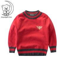 пчелы узор Повседневный стиль осенние вязаные свитера для мальчиков студентов детская одежда с круглым вырезом для детей толстый свитер 3 цвета Красный свитер детикий свитер 327 новогодний свитер рождественский свитер
