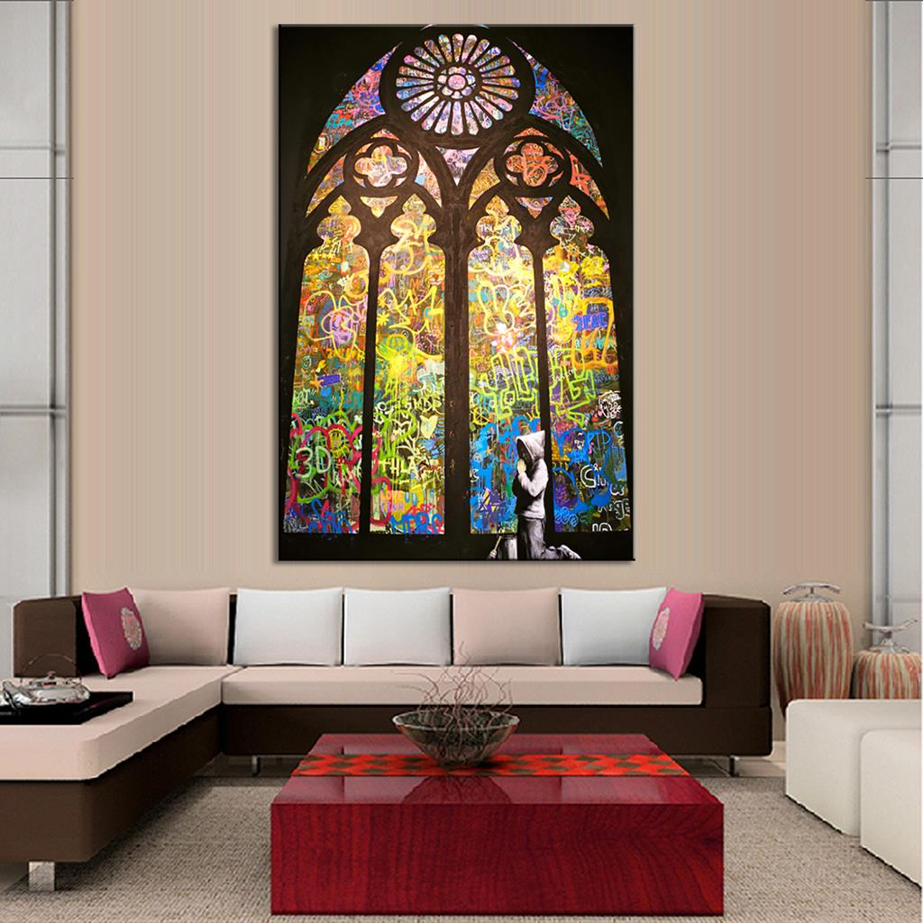 Banksy art pray in church living room wall art home for Living room 12x16