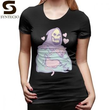 Skull Cat T-Shirt Skeletor S Cat T Shirt Green New Fashion Women tshirt O Neck XXL Cotton Street Wear Print Ladies Tee Shirt