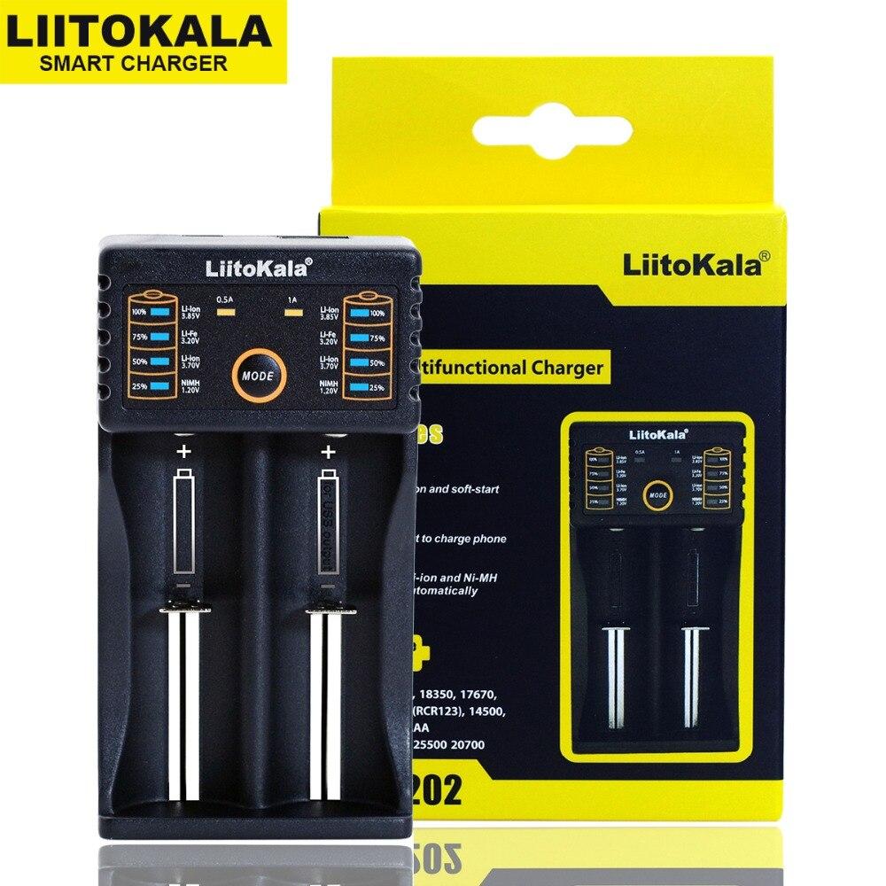 Liitokala Lii-202 Lii-402 Lii-100 Lii-PL4 1.2V 3.7V 3.2V 3.85V AA 18650 18350 26650 18350 NiMH lithium battery smart charger