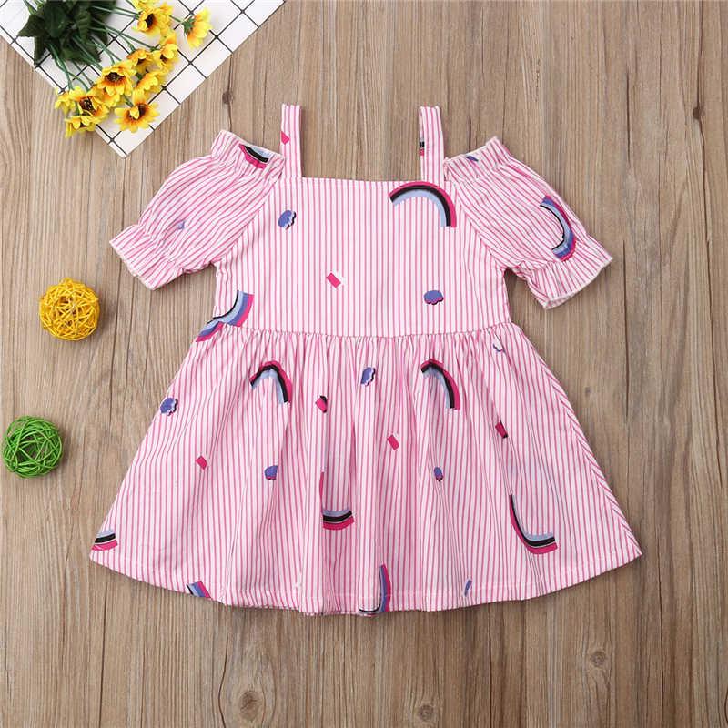 תינוק מסיבת שמלת קיץ כבוי כתף ראשון יום הולדת שמלת ילדה תינוק בגדי קשת הדפסת בנות שמלות נסיכת שמלות