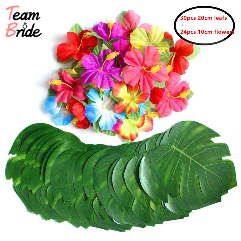 Team Bride to Hawaiian Turtle Leaf Hibiscus with Rod and Flowers Diy Tropical Beach Outdoor Indoor for Wedding Table decor