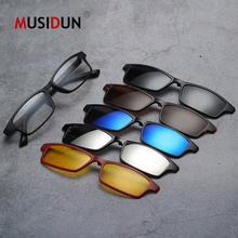 Fashion Sunglasses Men Women Optical Spectacle Frame With 5 Clip On Polarized Magnetic Glasses For Male Myopia Eyeglasses Q005