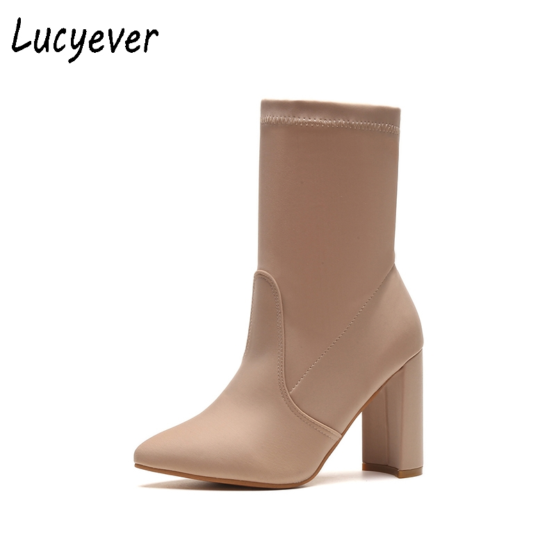 Lucyever Women Thick High Heels Riding Boots Spring Autumn Mid Calf Boots Leisure Flock Pointed Toe Shoes Plus Size 34-42 egonery quality pointed toe ankle thick high heels womens boots spring autumn suede nubuck zipper ladies shoes plus size