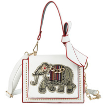 Fashion Cartoon Elephant Pattern Womens Handbag High Quality PU Leather Ladies Bow Shoulder Messenger Bag bolso mujer A5