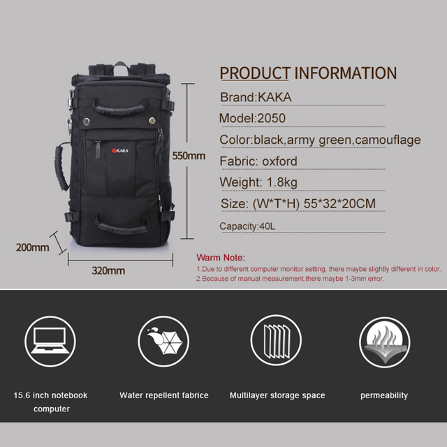 40 L High-capacity Oxford Waterproof Laptop Backpack Multifunctional Travel Bag Mochila School bag Hiking Luggage Bag KAKA 1