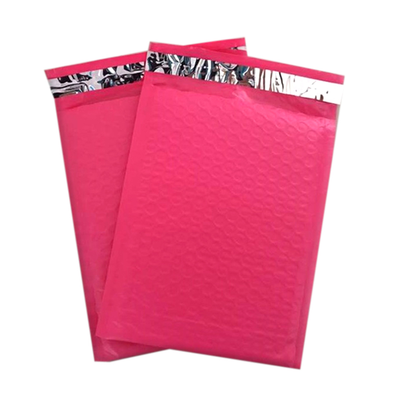 Bubble Buffer Anti-fall Poly Mailer rozā spilvenu aizsardzība Piepūšamās plastmasas iepakojuma maisiņa ūdensnecaurlaidīga loģistika kurjera zoda