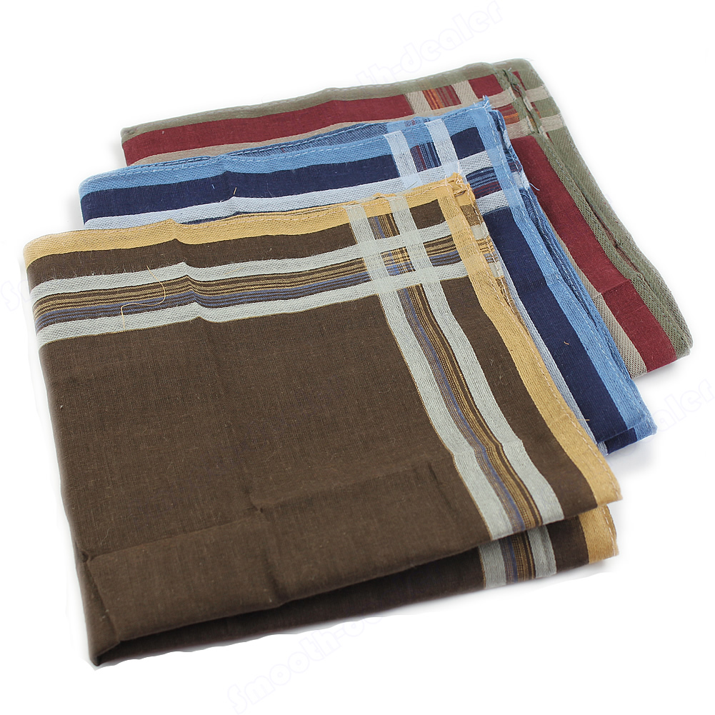 Men's Classic Comfort Soft Cotton Blend Plaid Handkerchief 40*40cm High Quality