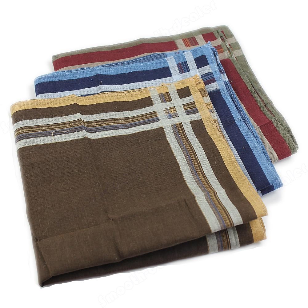 Men's Classic Comfort Soft Cotton Blend Plaid Handkerchief 40*40cm High Quality