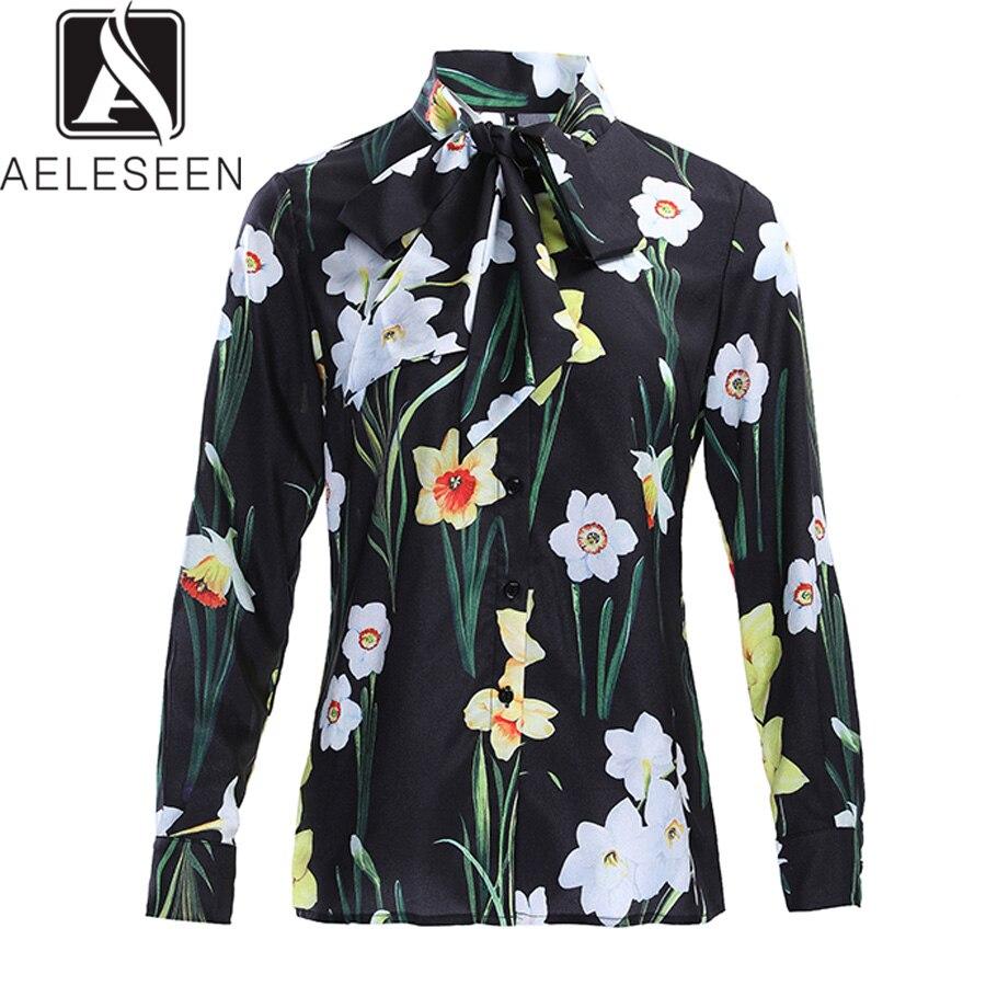 AELESEEN Vintage Blouse noire 2019 printemps été nouvelle mode à manches longues imprimé fleur Blouse impression chemise pour les femmes