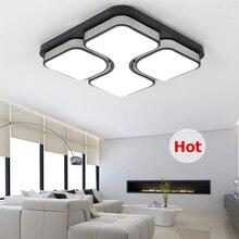 Modern Led Tavan Işık Oturma Odası Yatak Odası Için Siyah/Beyaz Demir Akrilik Tavan Lambası Cilası Abajur Luminaria Plafondlamp Avize