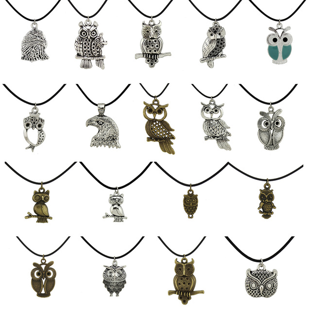"Trusta 2017 New Fashion Jewelry Vintage Silver Bronze Cute Owl Pendant 17"" Short Children Necklace Free Shipping Owl01"