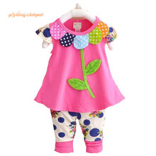 2016 Kids Baby Girl Clothing Set Bowknot Summer Floral T-shirts Tops and Pants Leggings 2pcs Cute Children Outfits Girls Set