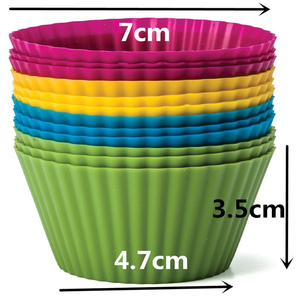 Image 2 - 12 Pieces/Set  Round Shaped Silicon Cake Baking Molds Cake Mold Silicon Cupcake Cup Home Kitchen Cooking Tools Random Color