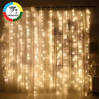 Coversage 6X3 M Kerst Slingers LED String Kerst Netto-verlichting Xmas Party Fairy Tuin Bruiloft Decoratie Gordijn Lichten