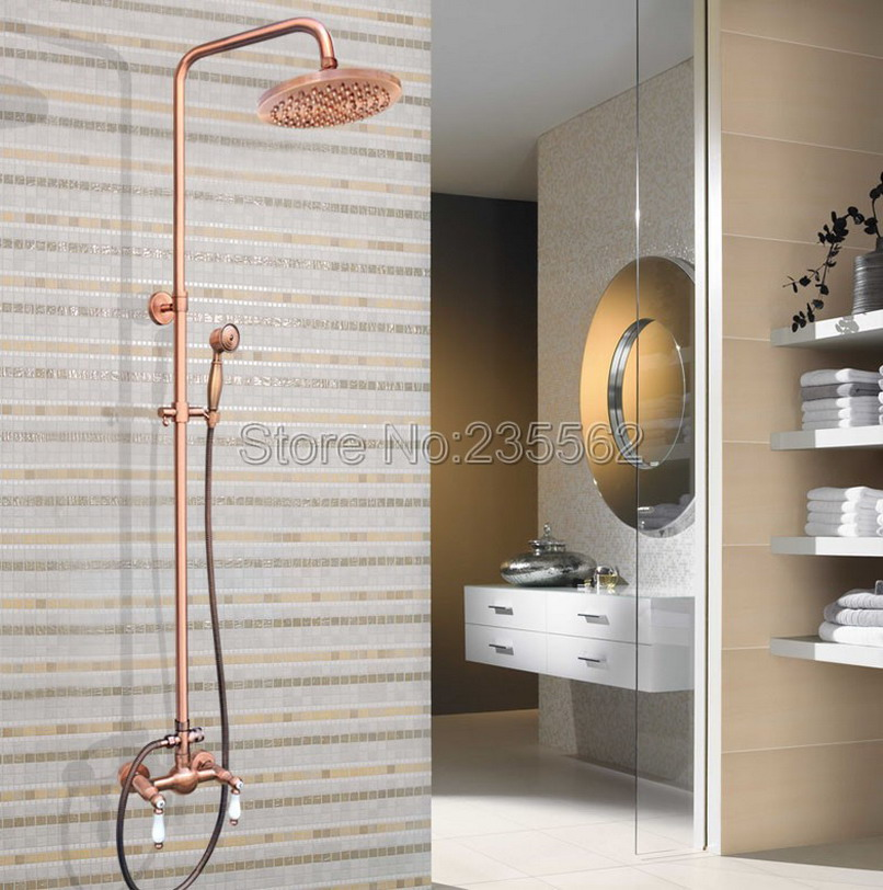 Wall Mounted Rainfall Mixer Tap Bathroom Red Copper Rain Shower Faucet Set with 8 inch Shower Heads + Hand Spray lrg583
