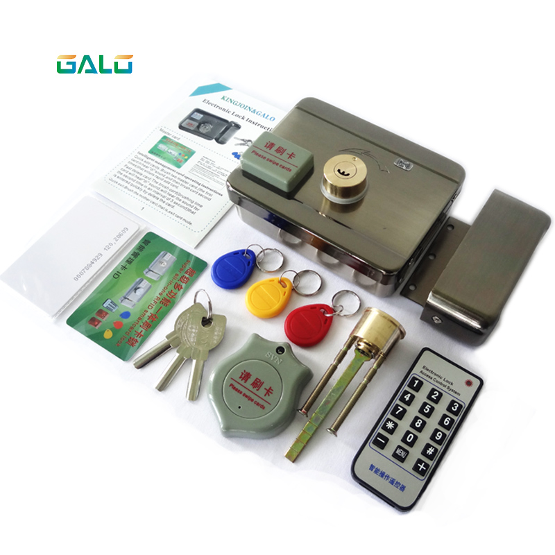 Smart remote control ID Card tag Door gate lock castle Access Control Electronic integrated RFID Rim lock double RFID reader
