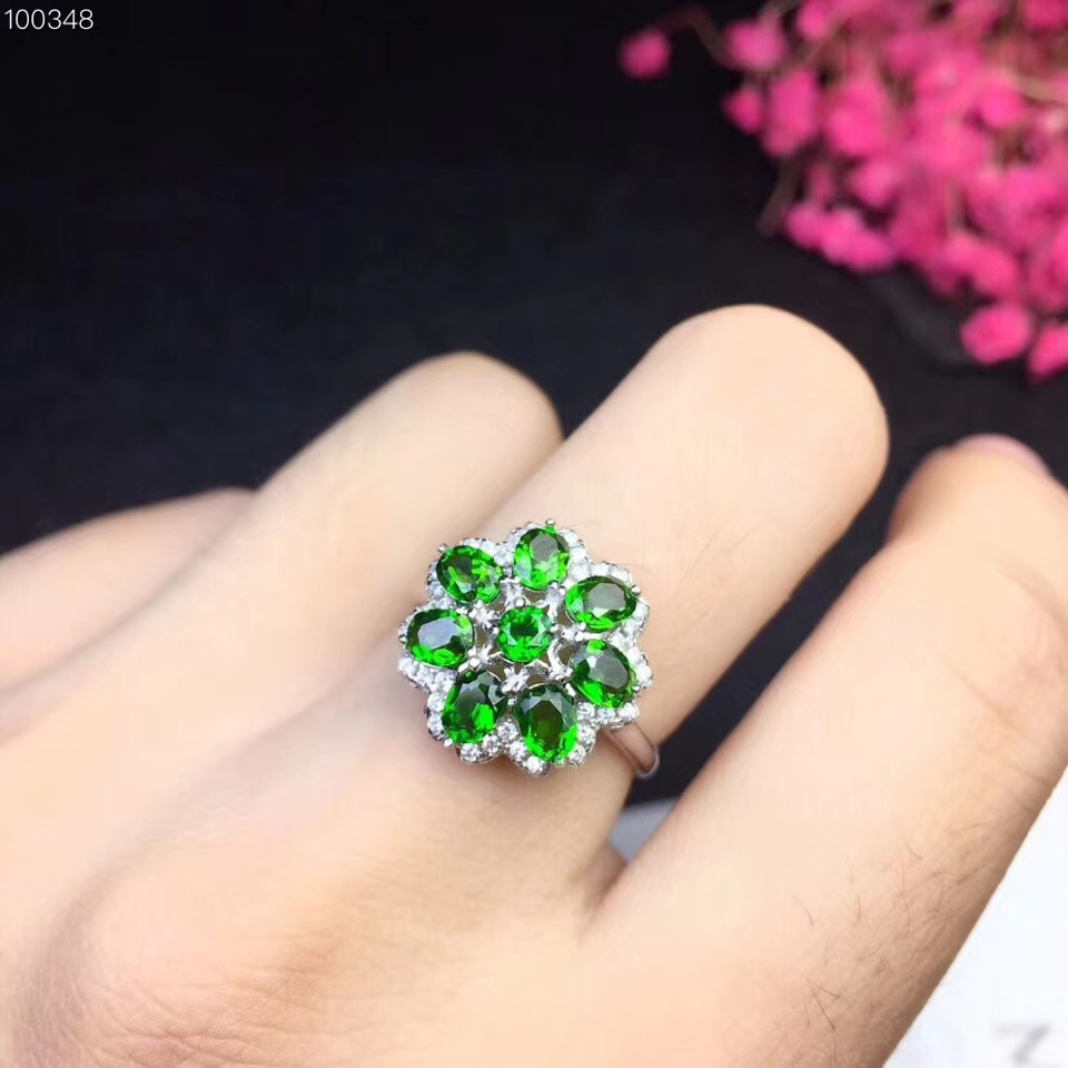 Natural green diopside gem Ring Natural gemstone ring S925 silver Luxurious big Flower Sun flower women girl gift party Jewelry цена