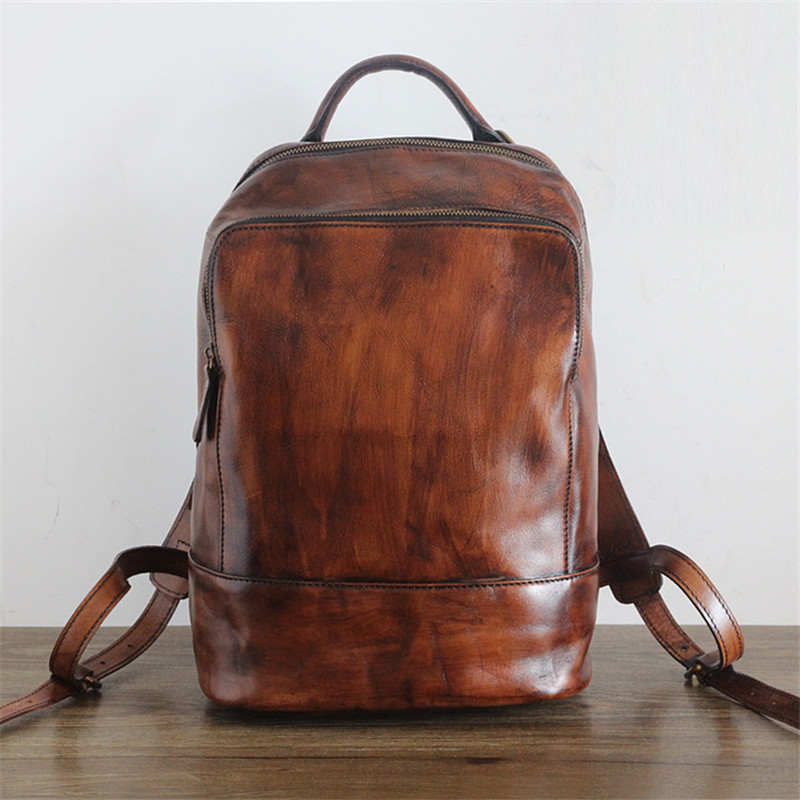 Vintage Men Genuine Leather Backpacks Vintage Daily Daypack Casual Rucksack Vegetable Tanned Leather Male Backpack Brown #pd2115 Bright In Colour Luggage & Bags