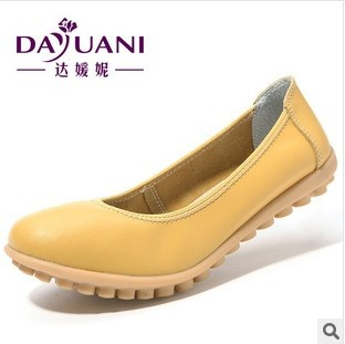 Promotions 2014 autumn mother work shoes genuine leather women shoes Slip on Ballet Flats Comfort Anti