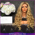 7A #613 Long blonde wavy Full Lace Human Hair Wigs For Black Women Brazilian Virgin Hair Lace Front Human Hair Wig 130% density
