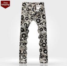 Горячее надувательство! осень синий подросток печатных мужские джинсы джинсовые брюки прямой персонализированные люксовый бренд случайные упругие брюки