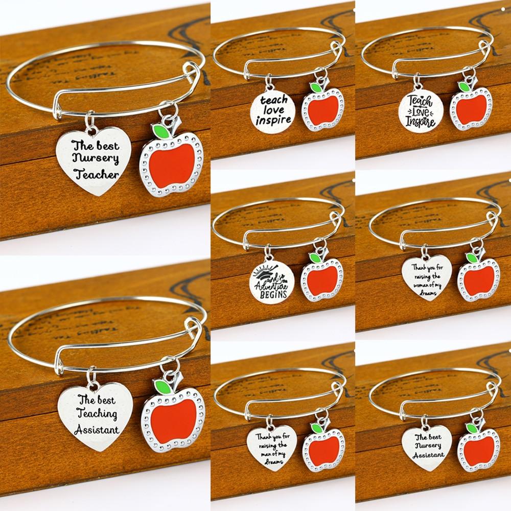 Wertschätzung Lehrer Armreif Apple Liebe Herz Charme Danke Lehrer Lehre Assistent Kindergarten Armreifen Armband Schmuck Geschenke