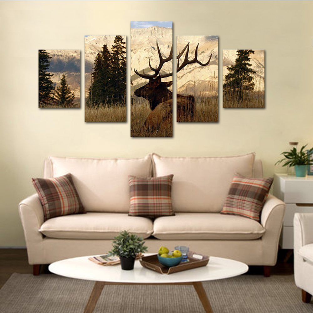 Unframed HD Print 5 Canvas Art Paintings Long Horn Elk Canvas Mural Living Room Decoration Picture Unframed Free Shipping