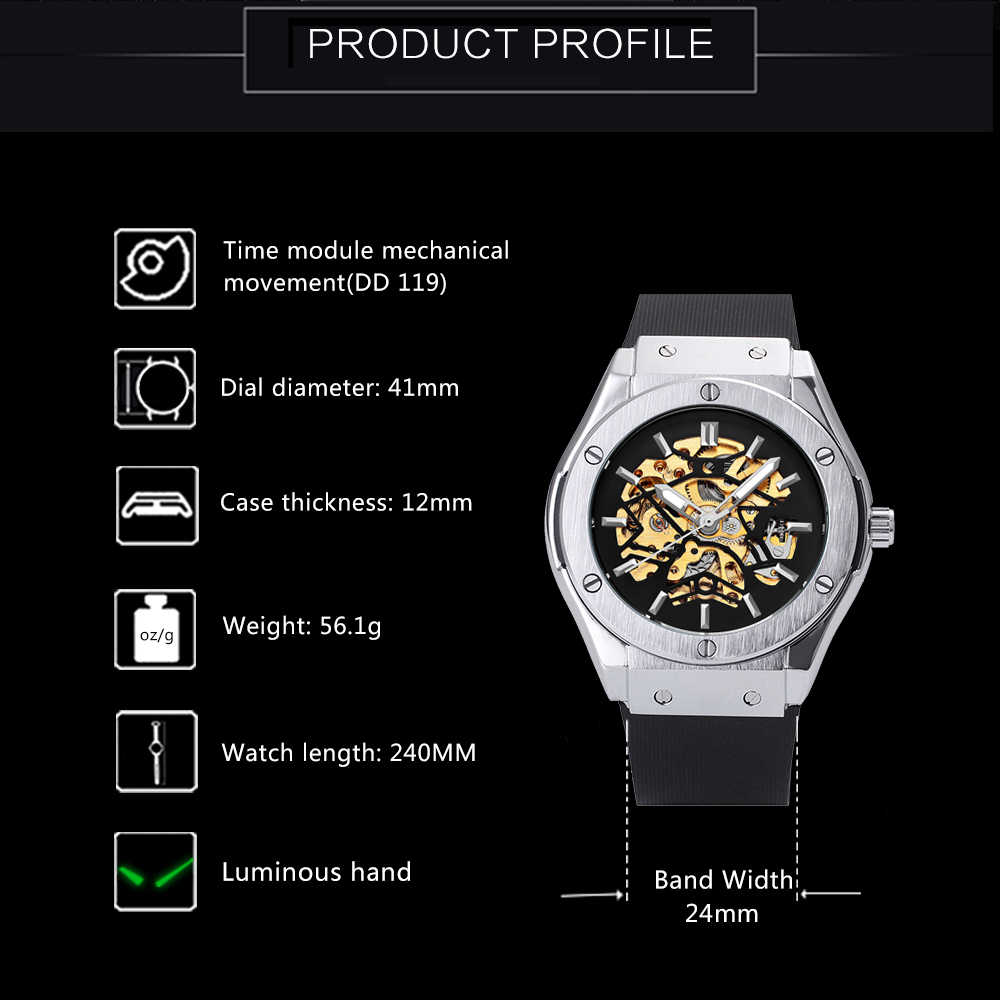 f58a6a1e9f1 ... WINNER Men Military Watches 2018 Fashion Auto Mechanical Wristwatch  Rubber Strap Skeleton Stainless-steel Case ...