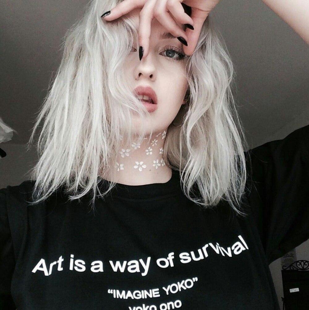 Kunst ist ein weg von überleben T-Shirt Lustige Brief Gedruckt t shirts Casual Baumwolle Tees Hight Qualität Crewneck Hipster Tops tumblr