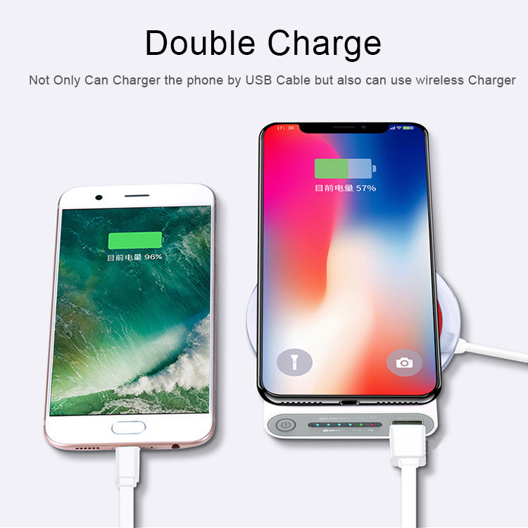 10000mAh Universal Portable Power Bank Qi Wireless Charger For iPhone Samsung S6 S7 S8 Powerbank Mobile Phone Wireless Charger 4