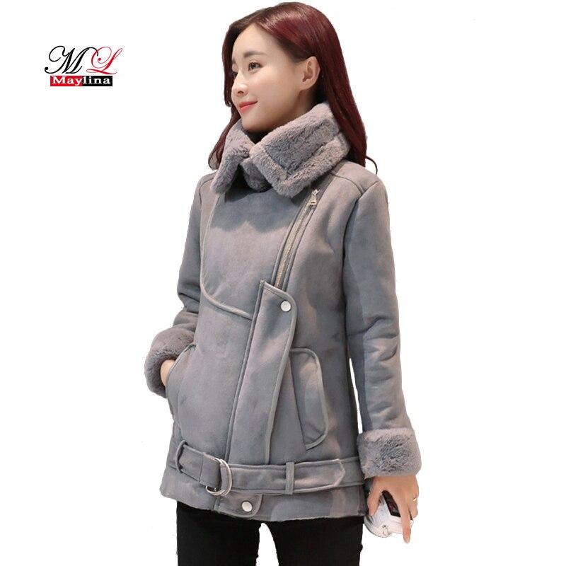 Maylina Winter Women Wool Zipper Fur Jacket Female Faux Short font b Coat b font Super
