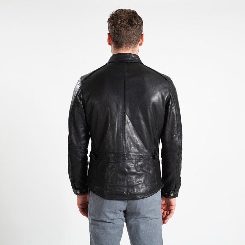 Hommes Plus Occasionnel Noir Slim Fit khaki En Manteau Mouton De Véritable Black Automne Gratuite Russe Taille La Veste Cuir Peau Livraison Mince brown Xxxl 2018 zAwq5xnCz