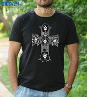 Gildan Tee4U Brand Printed 100 Cotton T Shirt Compression Guns N Roses O Neck Short Sleeve