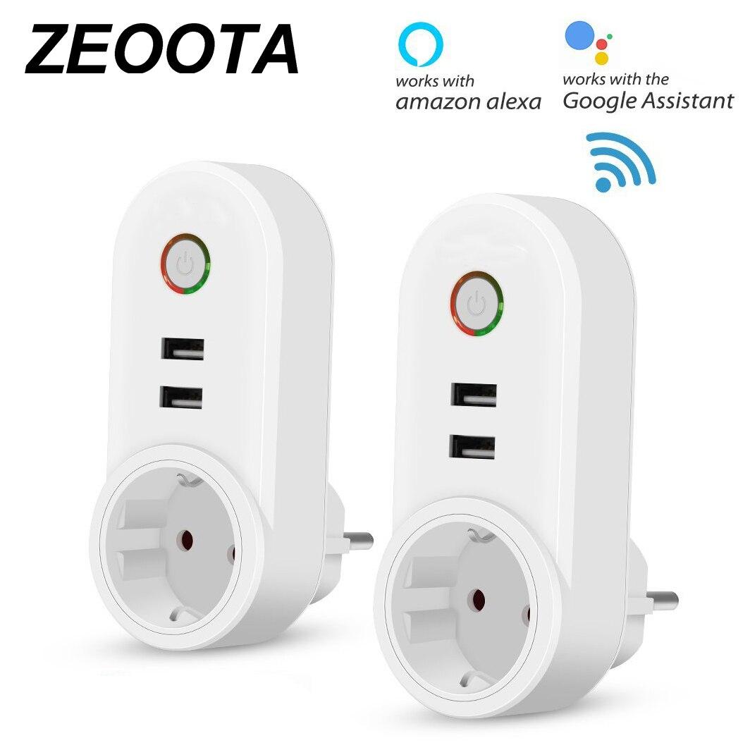 Smart WiFi enchufe de alimentación de salida con USB Control remoto temporizador de Control función compatibles con Amazon Alexa de Google
