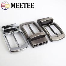 Meetee 35mm Width Mens Metal Belt Buckles Head Rotating Brushed Pin Buckle for Men Jean Accessories DIY Leather Craft