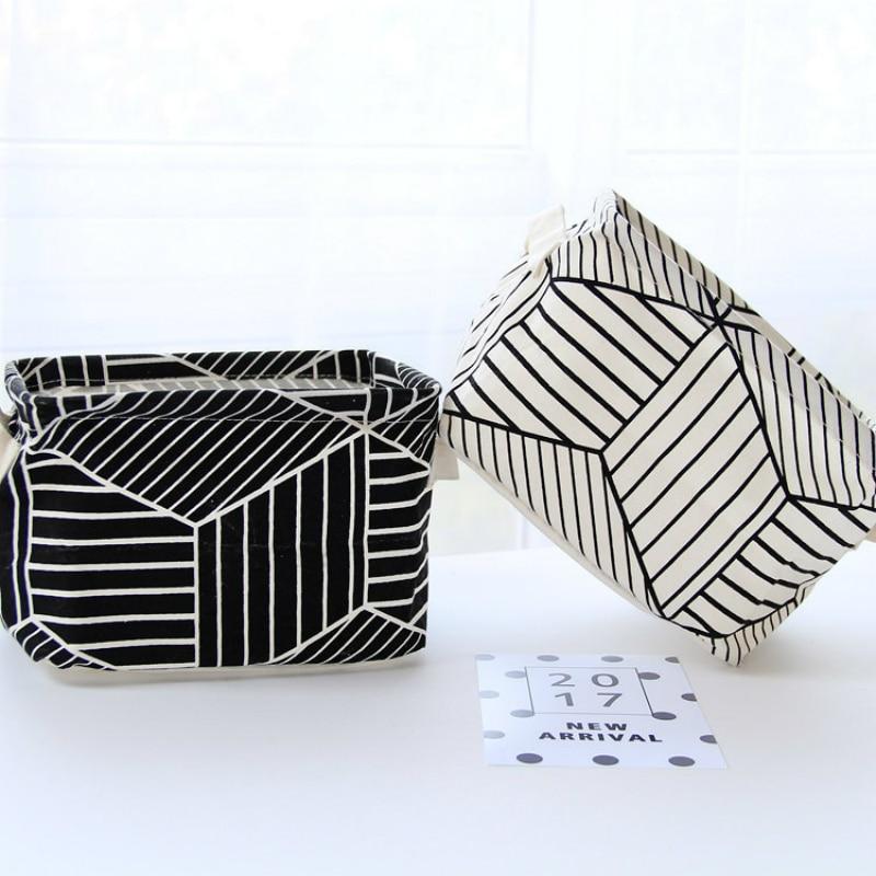 Nordic Linen Office Desk Organizer Portable Desktop Storage Basket Folding Cosmetic Storage Box Makeup Organizer Sundries Box