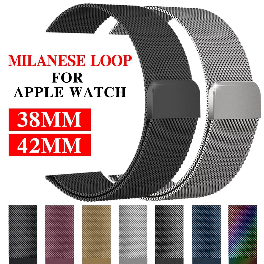 Correa de malla milanesa para Apple Watch de 38/42 mm Series 1/2/3, correa de acero inoxidable, brazalete de metal de repuesto para reloj de pulsera.