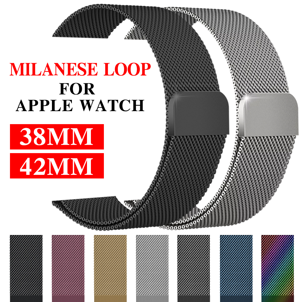 Milanese pulseira de laço para Apple Watch 38/42 mm série 1/2/3, pulseira de aço inoxidável, pulseira de relógio de reposição.