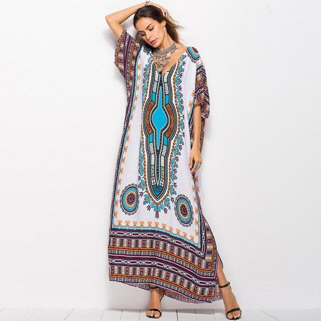 Plus size vintage print loose Bohemian maxi dress women summer Batwing  Sleeve beach boho chic sexy 485327c36e33