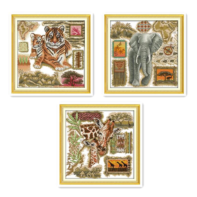 Animal Pattern Cross Stitch Kit African Tiger Elephant Giraffe