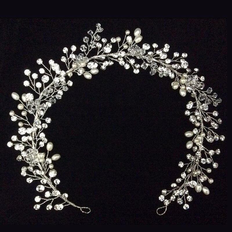 ФОТО Pearl And Rhinestone Wedding Crown Handmade Bridal Halo Headband Silver Plated Hair Vine Tiara Wedding Hair Accessories 2016