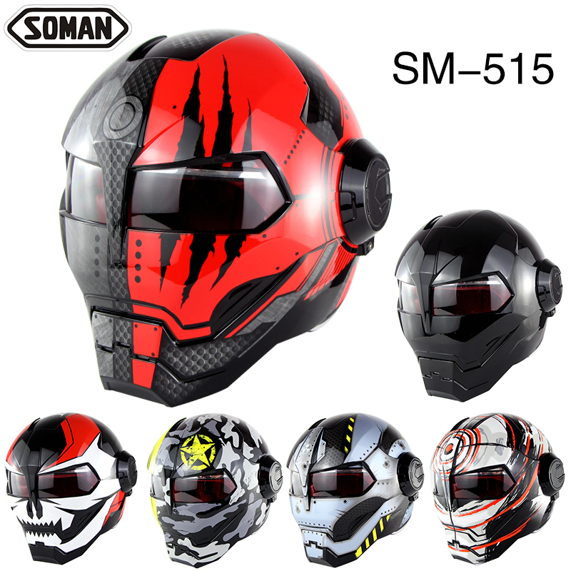 Soman 515 Ironman Motorcycle Helmet Casco Open Face Verspa Skull Style capacetes DOT Approval iy new in stock ve j62 iy vi j62 iy