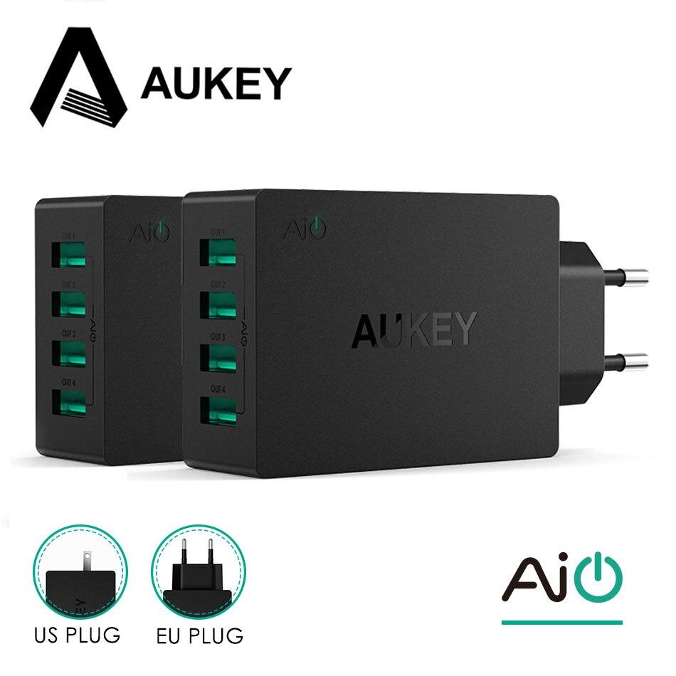 AUKEY 3/4 puertos USB cargador de teléfono móvil rápido cargador de pared para iPhone 6 S 7/8/X/ más iPad Samsung S8 Xiaomi Mi7 Tablet Power Bank