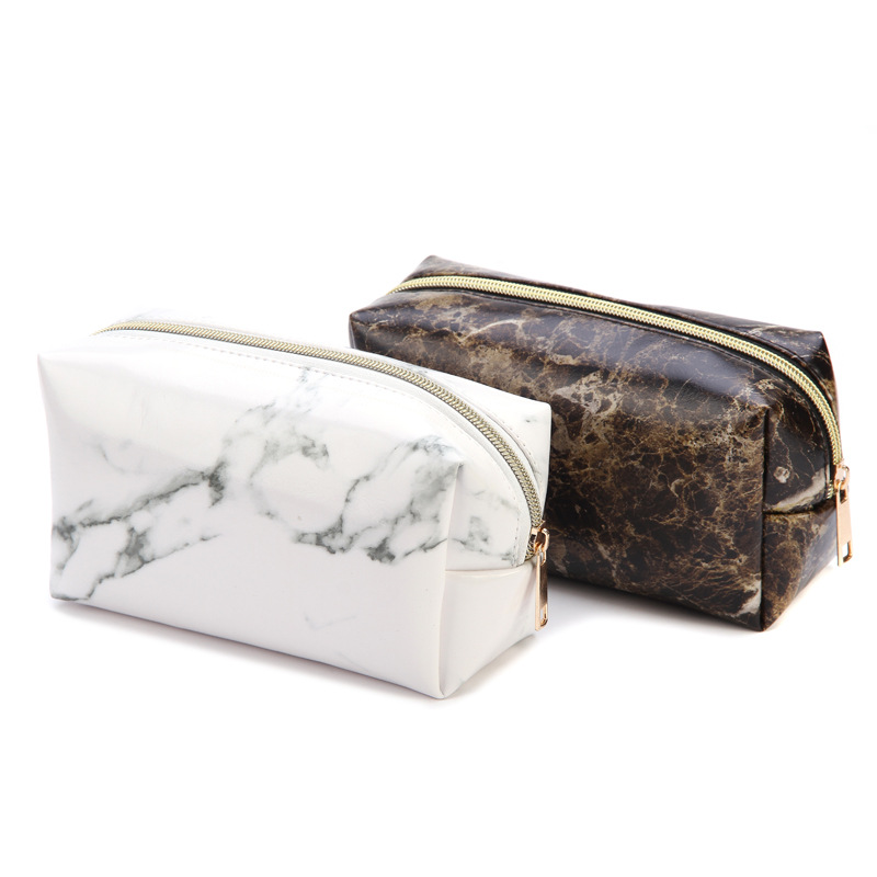 Cute Marble Pencil Cases For Girls Big Capacity PU Leather Cosmetic Bag Estuche School Office Supplies Zakka Escolar