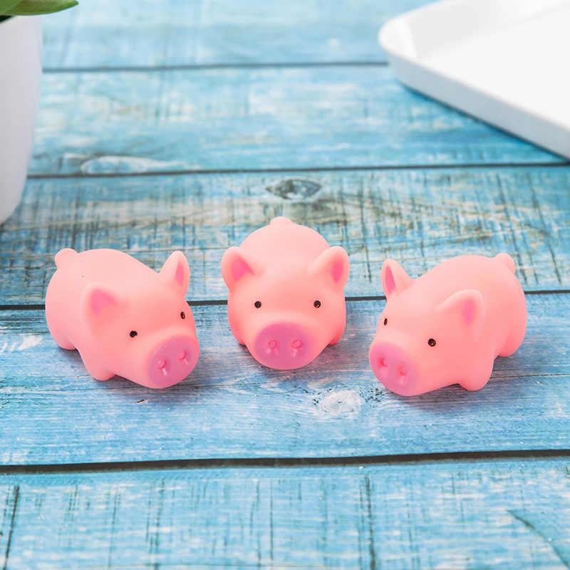 10 pcs Mini Rosa Porcos Brinquedo Bonito Vinil Squeeze Som Porco Encantador Antistress Squishies Espremer Animais Brinquedos De Banho para Crianças presentes
