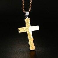 Men S Stainless Steel Pendant Necklace Gold Silver Bible Lords Prayer Jesus Christ Crucifix Cross Vintage