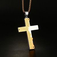 Men S Stainless Steel Pendant Necklace Gold Silver Bible Lords Prayer Jesus Christ Crucifix Cross Vintage