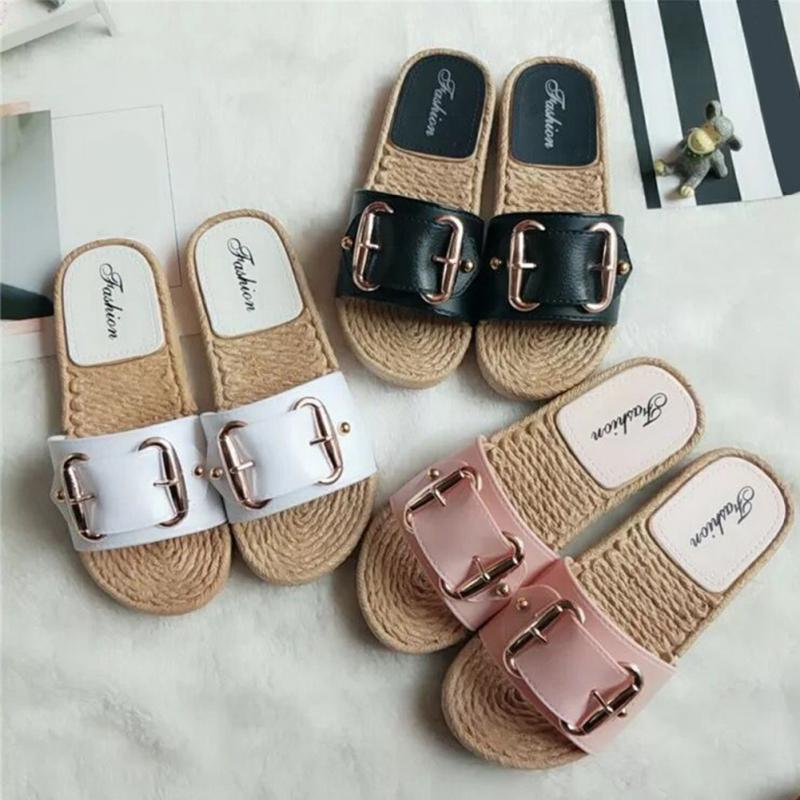 Fashion Flax Buckle Home Slippers Women Indoor Shoes Ladies Outdoor Mules Slippers Summer Beach Sandals Slides Zapatos Mujer 6